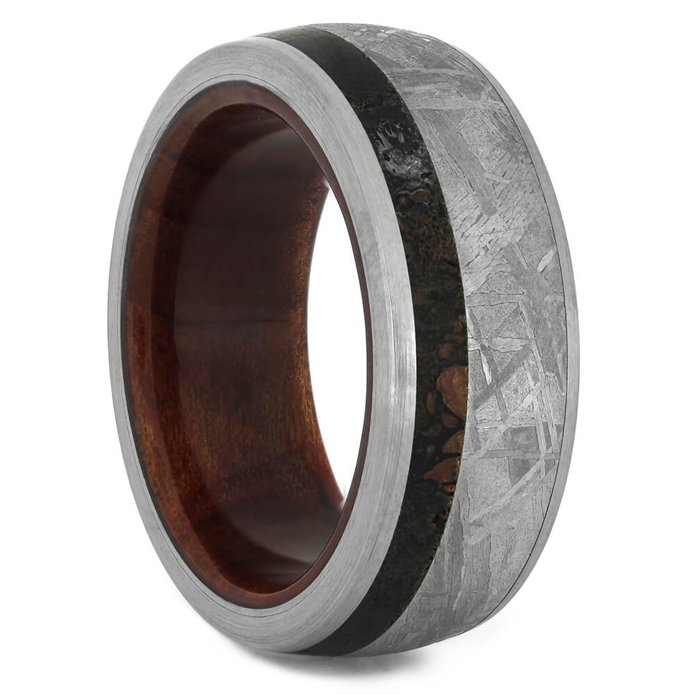 Meteorite and Dinosaur Bone Wedding Band with Redwood Sleeve, Size 9.25-RS11269 - Jewelry by Johan