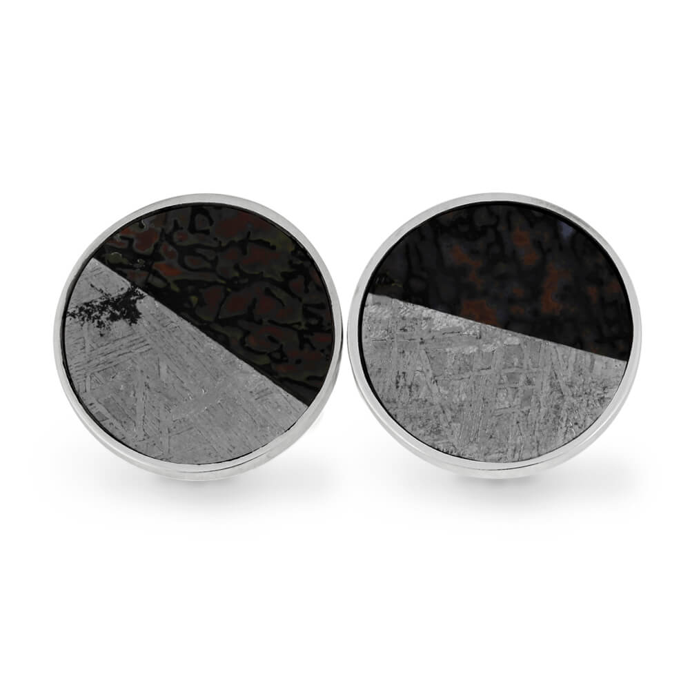 Meteorite and Fossil Cuff Links, In Stock-RS11271 - Jewelry by Johan