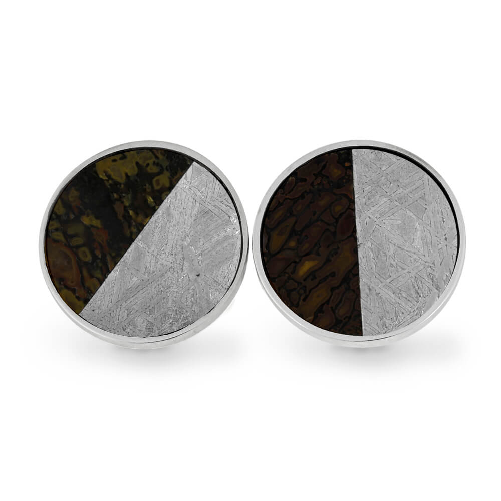Diagonal Meteorite and Dinosaur Bone Cuff Links, In Stock-RS11272 - Jewelry by Johan