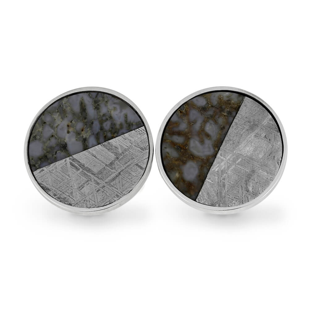 Diagonal Cuff Links with Gibeon Meteorite and Dinosaur Bone, In Stock-RS11274 - Jewelry by Johan