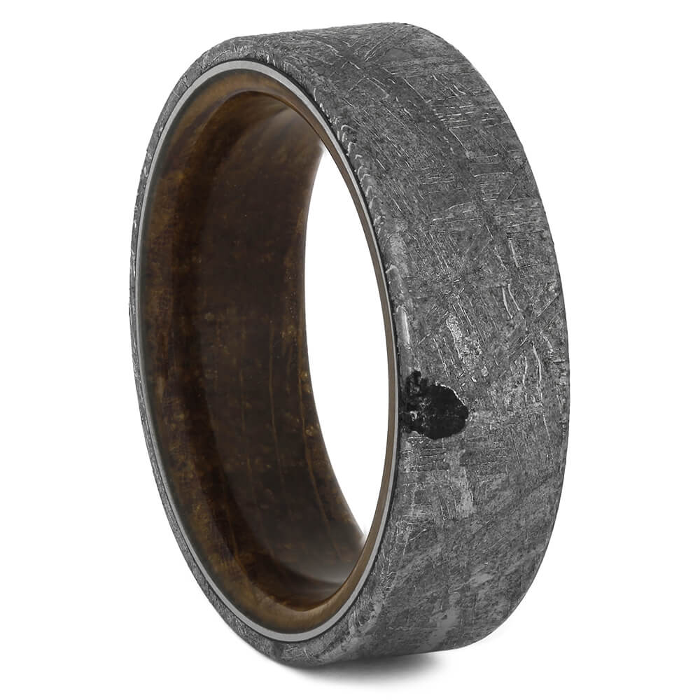 Space Inspired Wedding Band with Whiskey Barrel Wood Sleeve