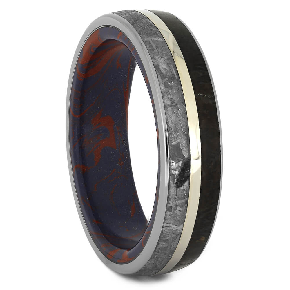 Mokume Wedding Band with Meteorite and Fossil Inlays, Size 10-RS11278 - Jewelry by Johan