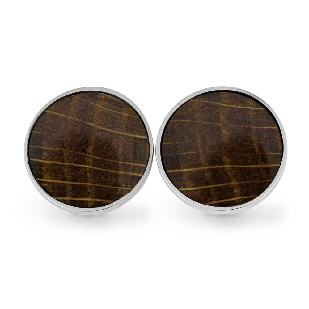 Whiskey Barrel Wood Cuff Links in Stainless Steel-RS11281 - Jewelry by Johan