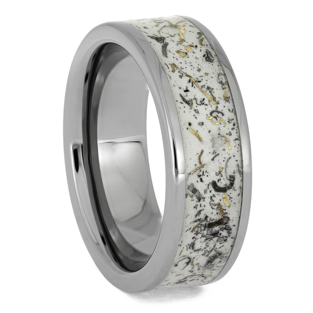 White Stardust™ Wedding Ring in Titanium, Size 7-RS11285 - Jewelry by Johan