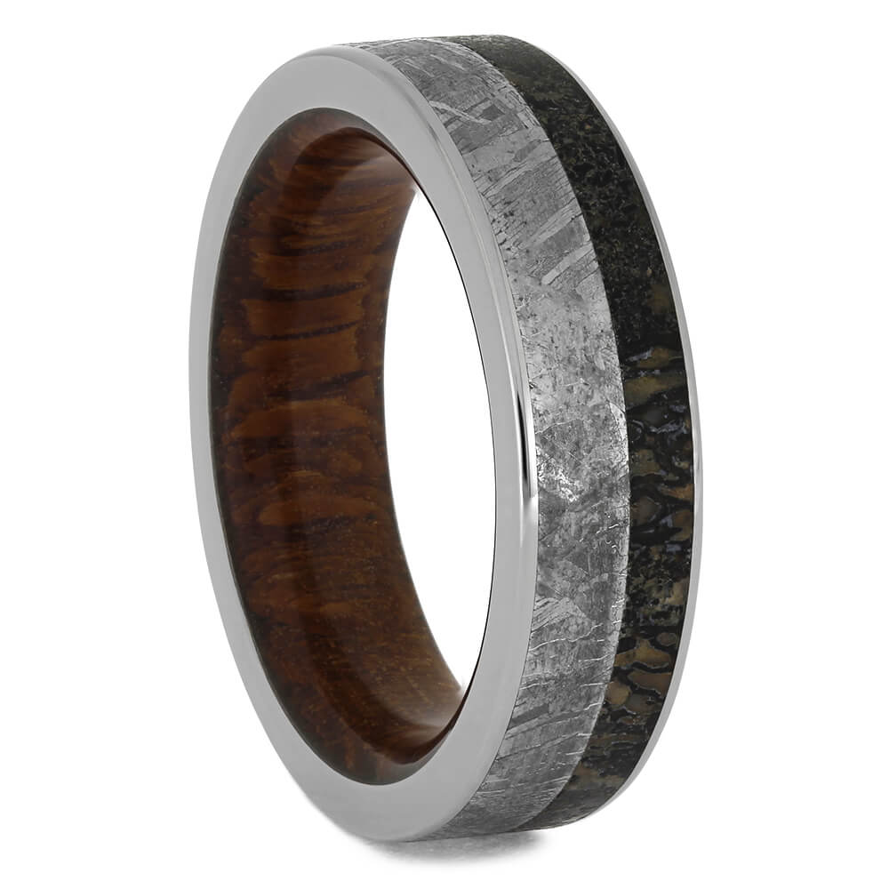 Meteorite and Dinosaur Bone Wedding Band, Size 7-RS11286 - Jewelry by Johan