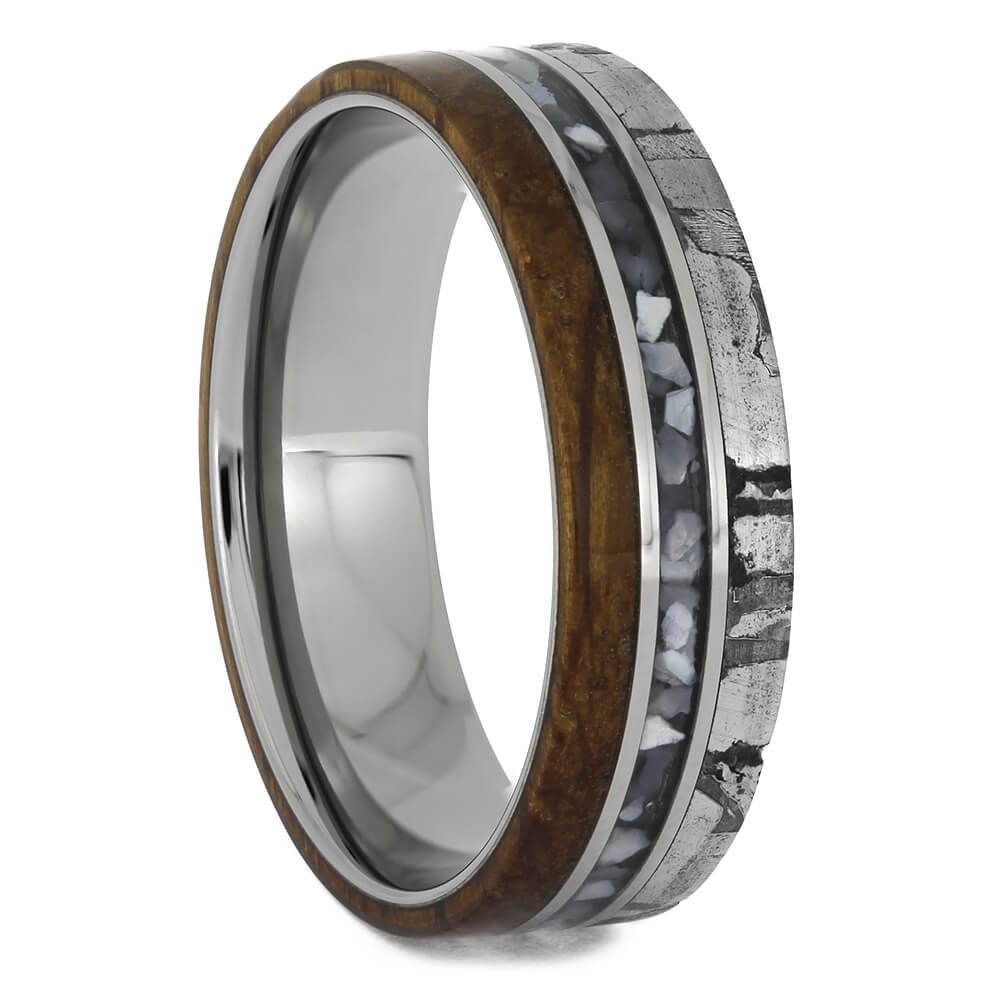 Men's Triple Inlay Wedding Band with Titanium Sleeve