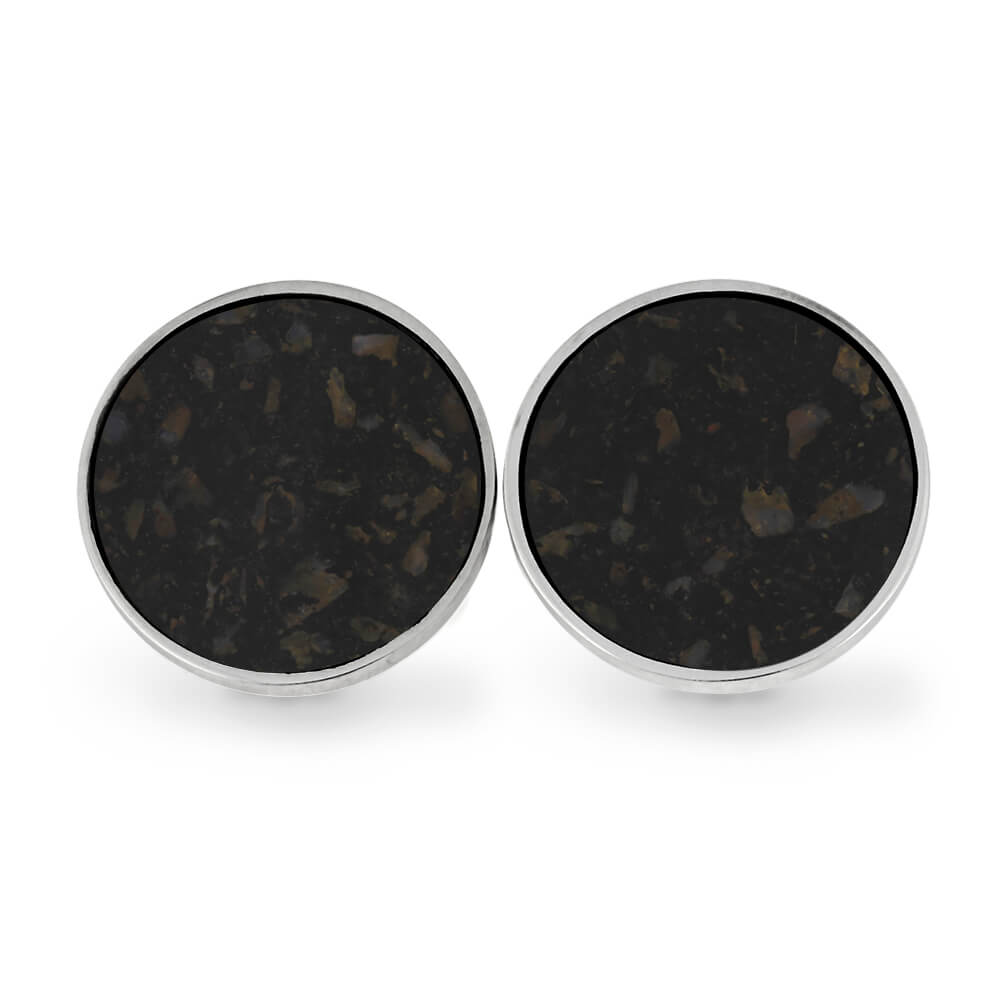 Round Stainless Steel Cuff Links with Crushed Dinosaur Bone-RS11296 - Jewelry by Johan