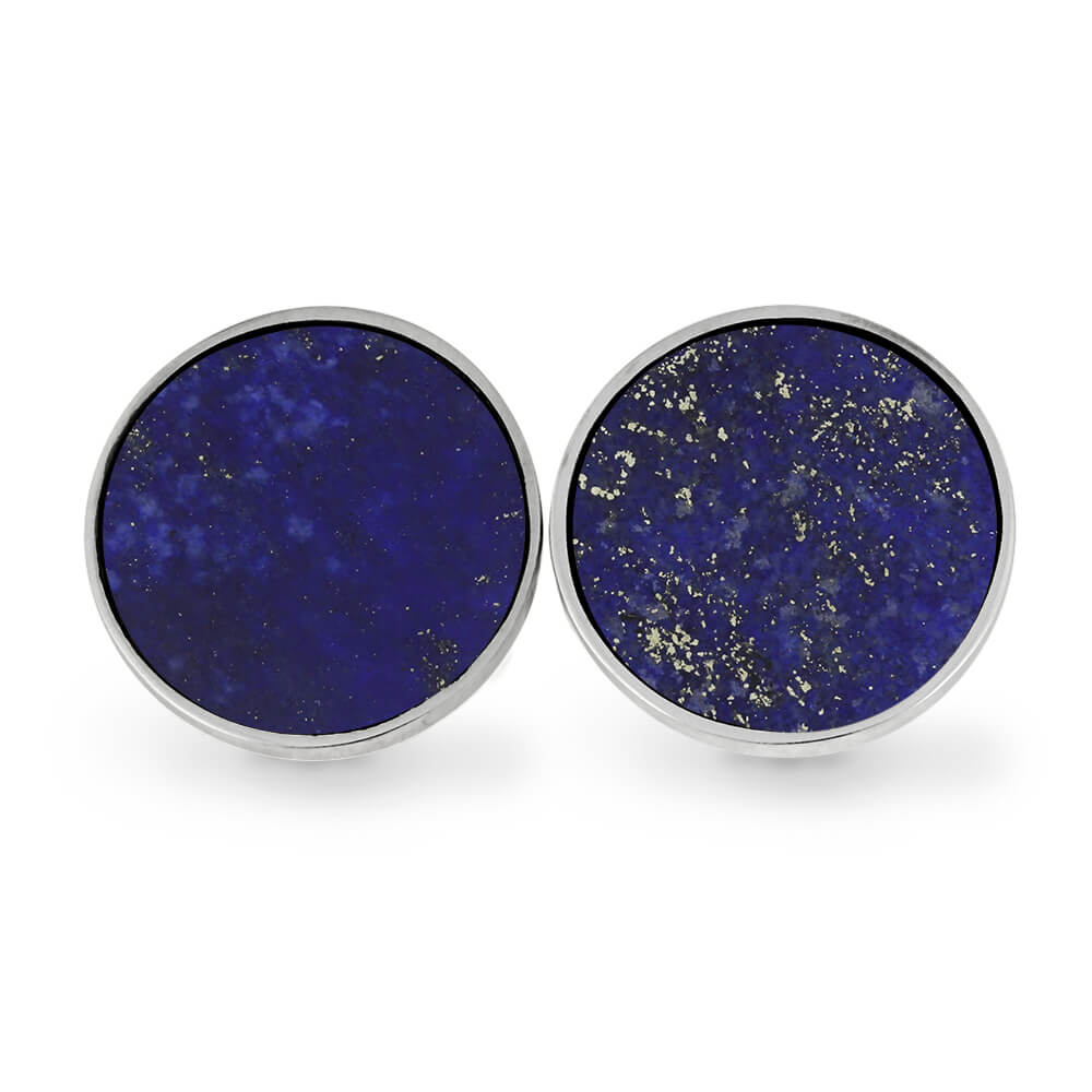 Lapis Lazuli Cuff Links with Round Stainless Steel Backs-RS11297 - Jewelry by Johan