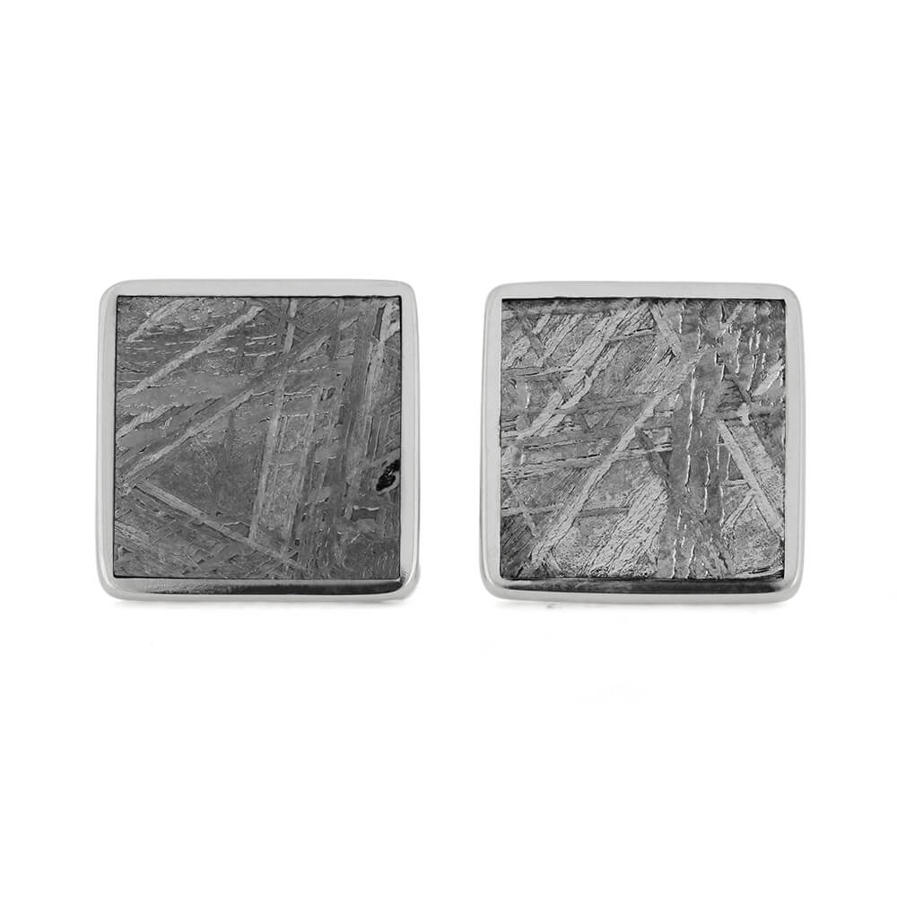 Square Stainless Steel Cuff Links with Gibeon Meteorite-RS11299 - Jewelry by Johan
