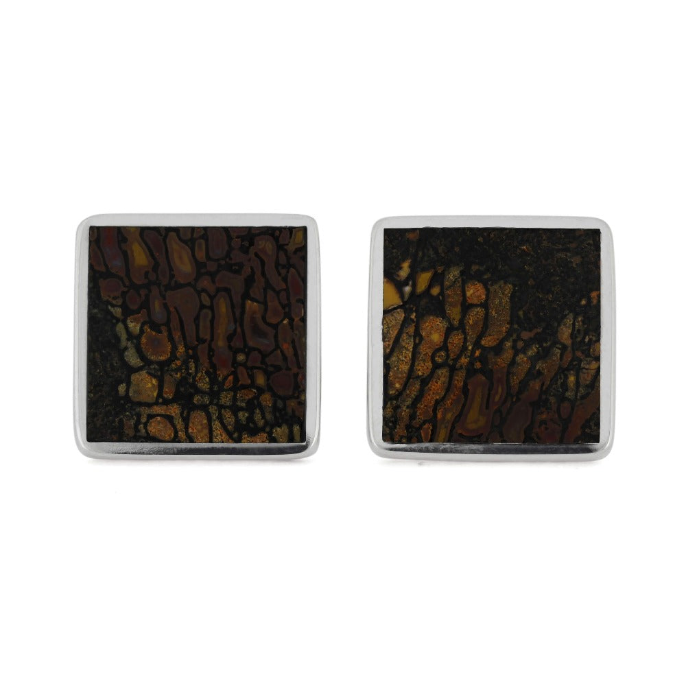 Square Stainless Steel Cuff Links with Dinosaur Bone, In Stock-RS11300 - Jewelry by Johan