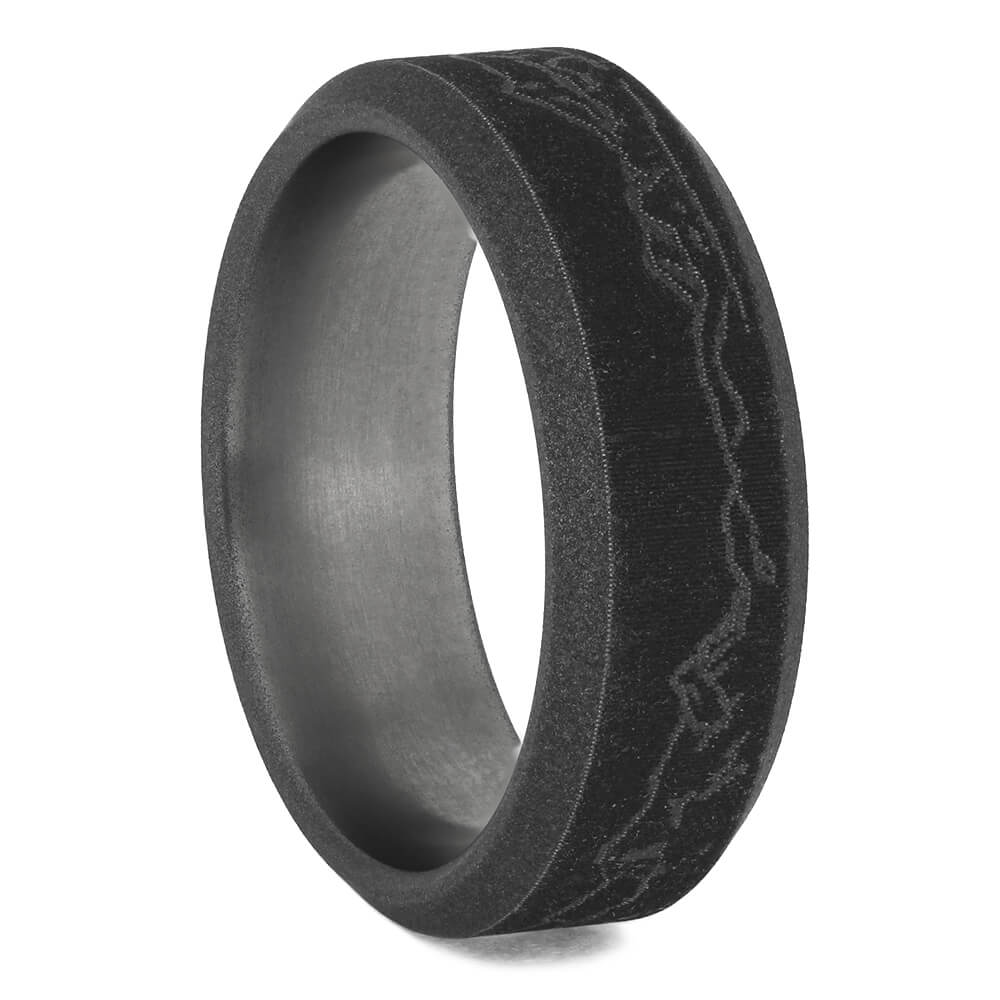 Mountain Range Engraved Sandblasted Titanium Ring, Size 7.5-RS11308 - Jewelry by Johan