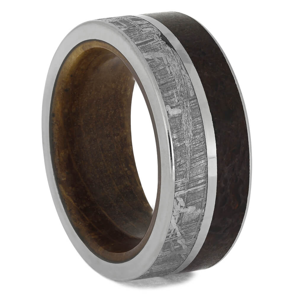 Meteorite and Dinosaur Bone Men's Wedding Band