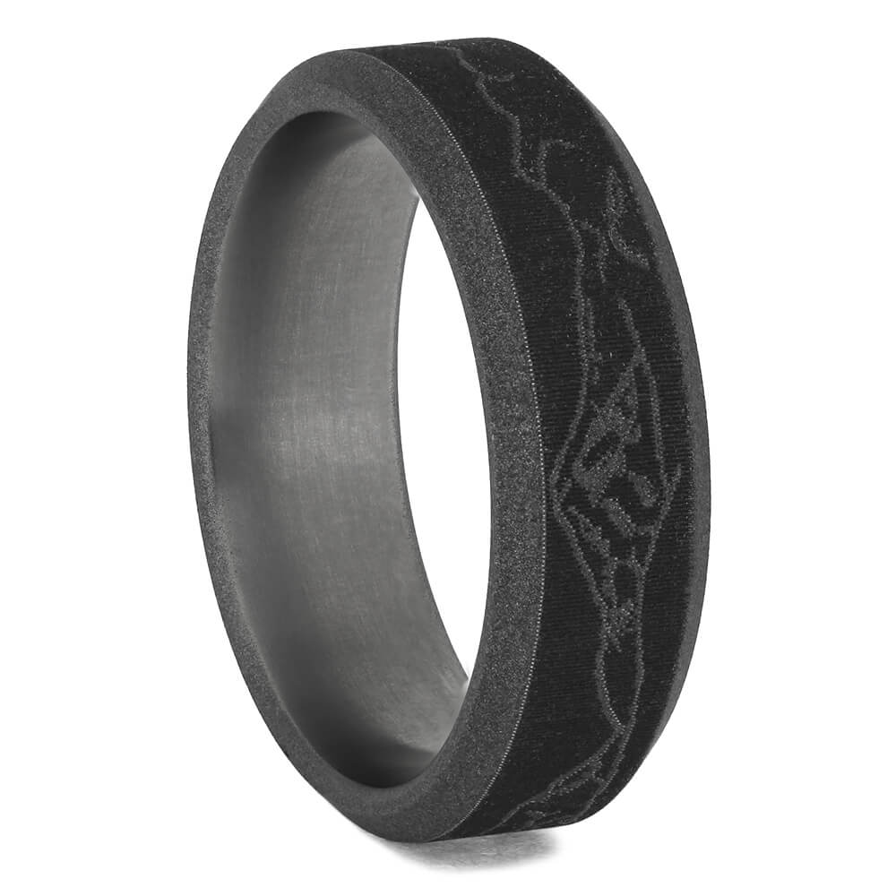 Sandblasted Men's Wedding Band With Mountain Engraving, Size 10-RS11318 - Jewelry by Johan