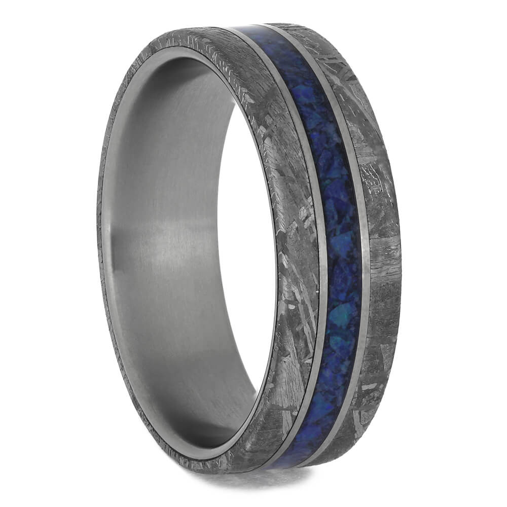 Men's Meteorite Wedding band with Opal Center