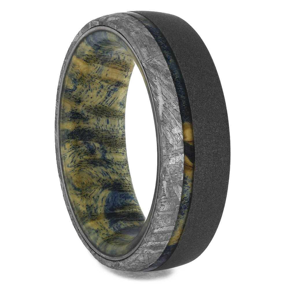 Blue Box Elder Wedding Band with Meteorite Edge