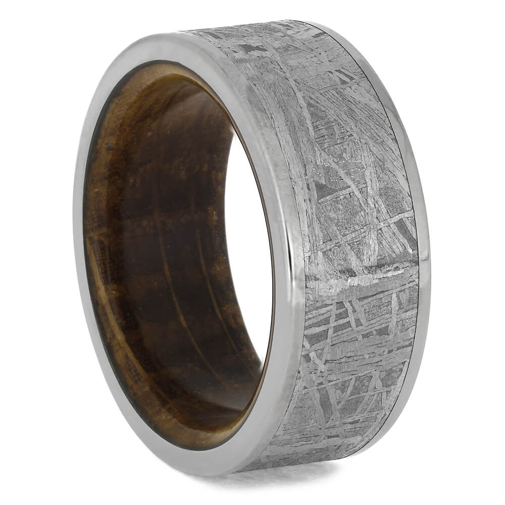 Meteorite Wedding Band with Whiskey Barrel Oak Wood, Size 8.25-RS11326 - Jewelry by Johan