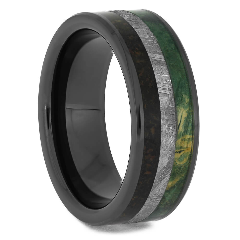 Black Ceramic Wedding Band with Triple Inlay Materials