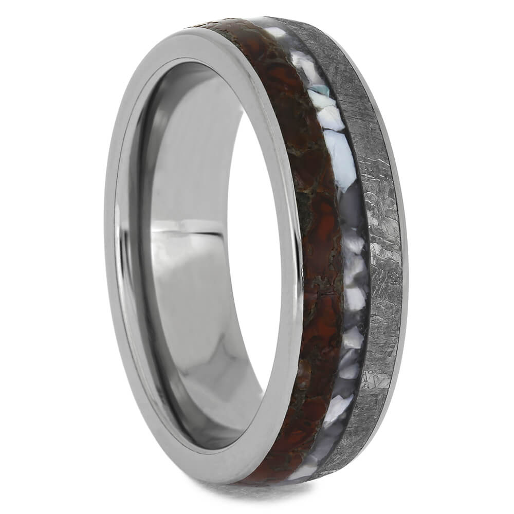 Round Titanium Wedding Band with Meteorite and Dinosaur Bone