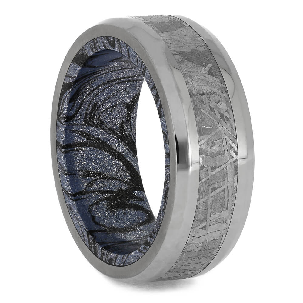 Beveled Titanium Wedding Band with Meteorite Center