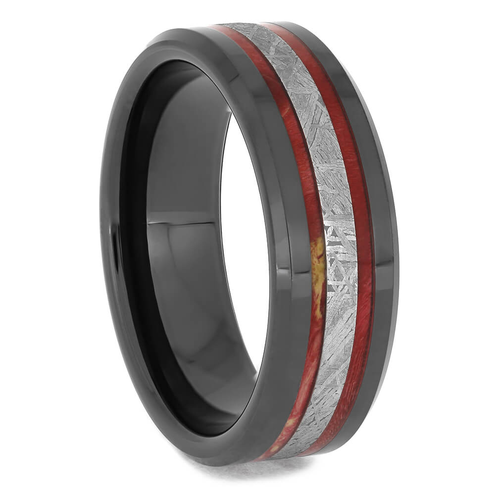 Black Ceramic Wedding Band with Red Wood Inlays