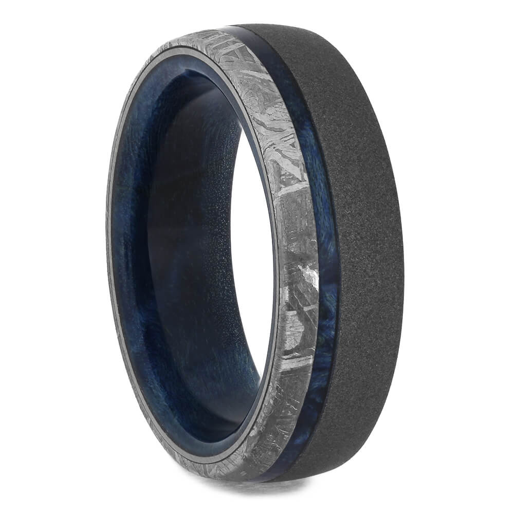 Sandblasted Wedding Band with Meteorite and Blue Box Elder Wood, Size 9-RS11355 - Jewelry by Johan