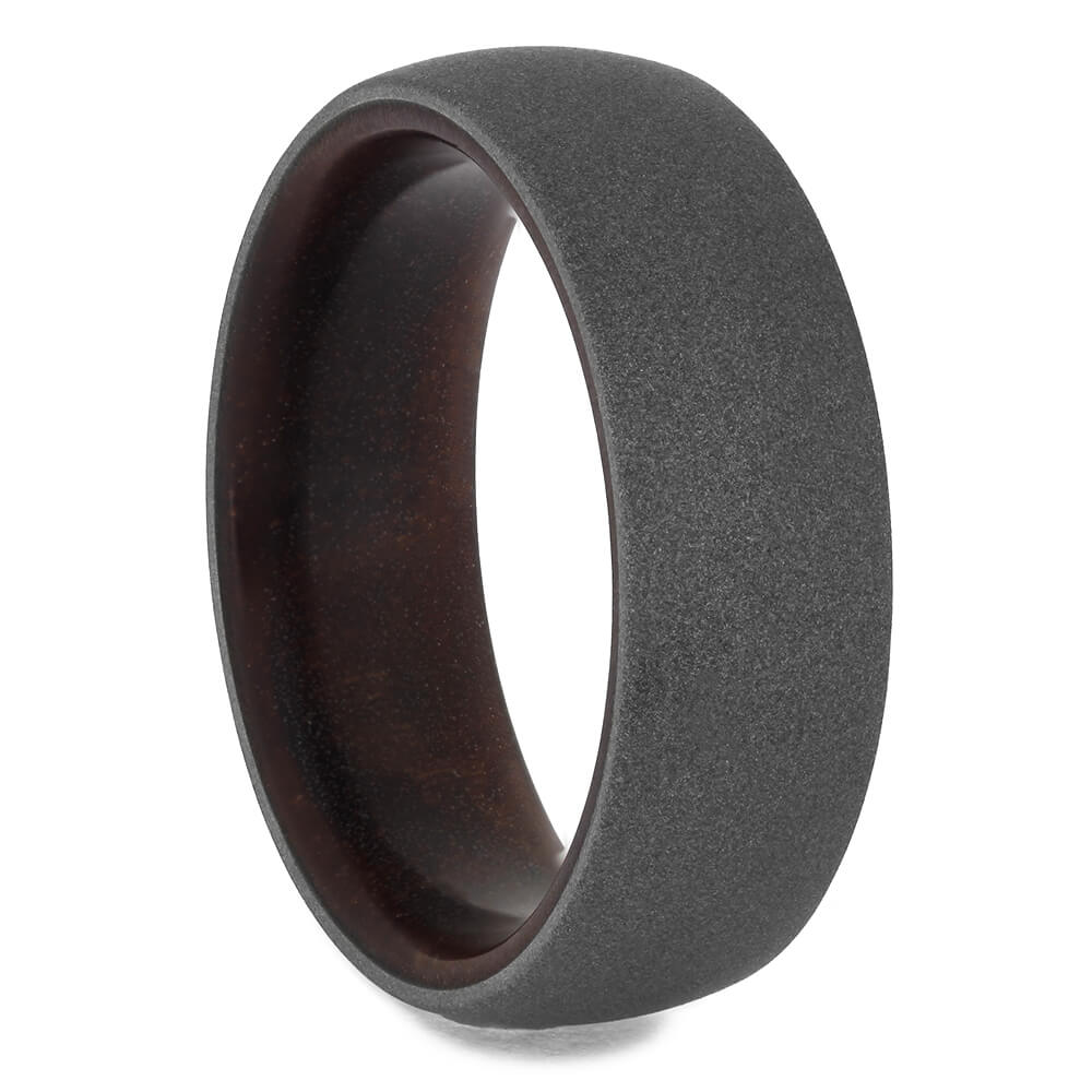 Eucalyptus Wood Ring with Sandblasted Titanium, Size 11.75-RS11362 - Jewelry by Johan