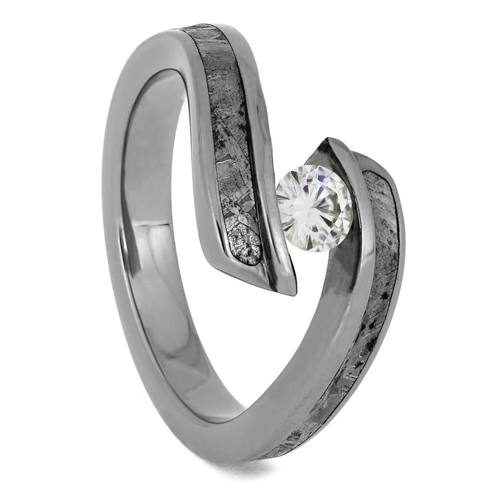 Tension Set Moissanite and Meteorite Engagement Ring, Size 5.75-RS11376 - Jewelry by Johan