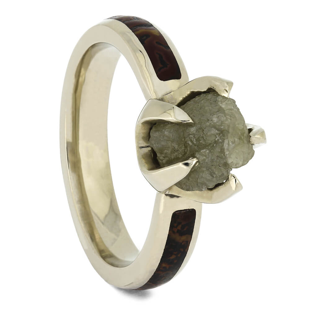Rough Diamond Engagement Ring with Dinosaur Bone, Size 6-RS11377 - Jewelry by Johan