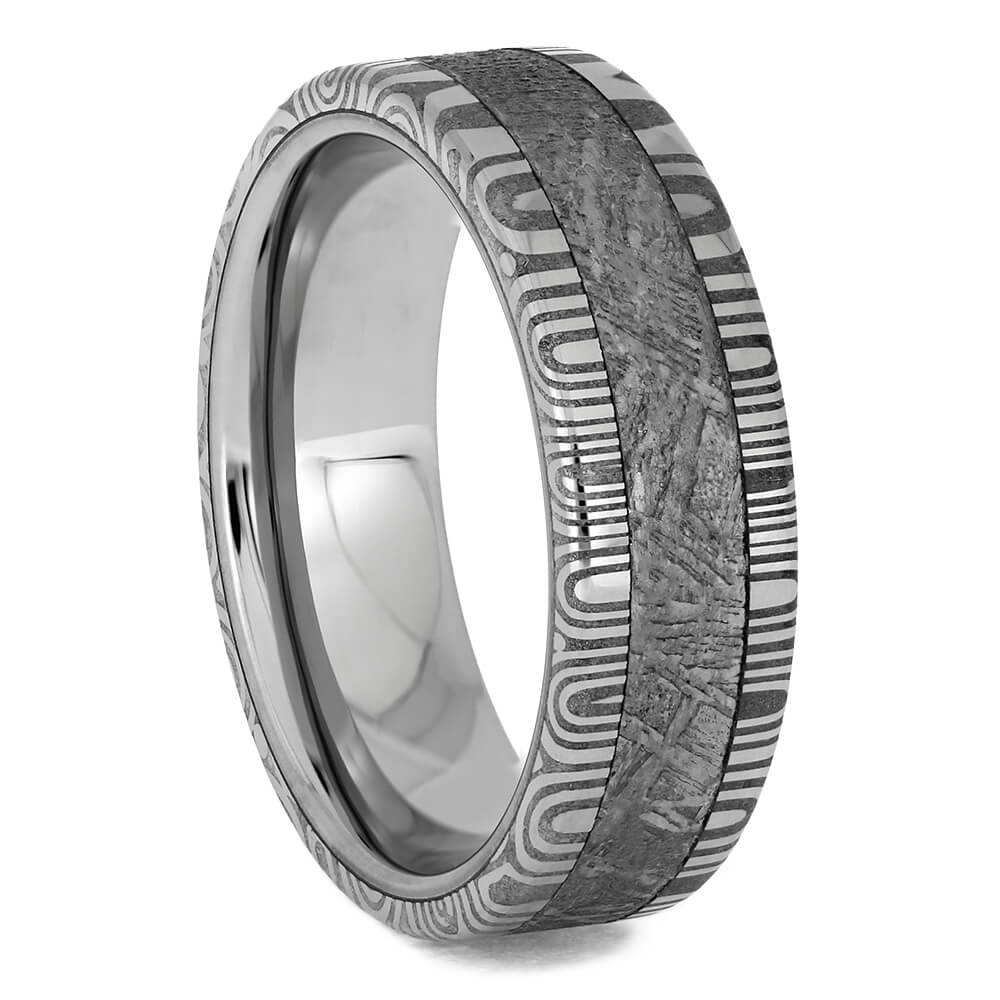 Meteorite and Damascus Steel Wedding Band, Size 6.5-RS11378 - Jewelry by Johan