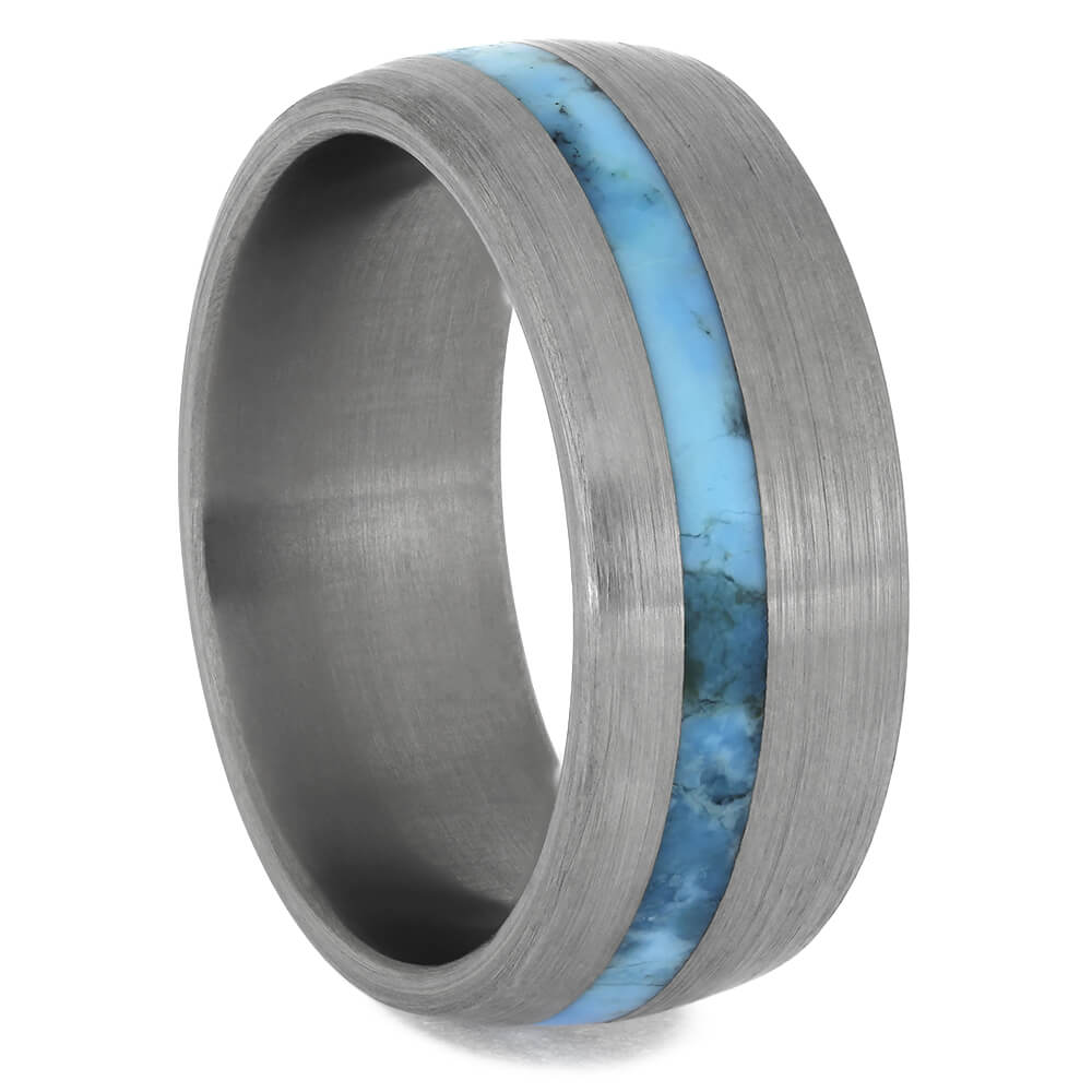 Turquoise Ring With Brushed Titanium Finish, Size 7.5-RS11380 - Jewelry by Johan