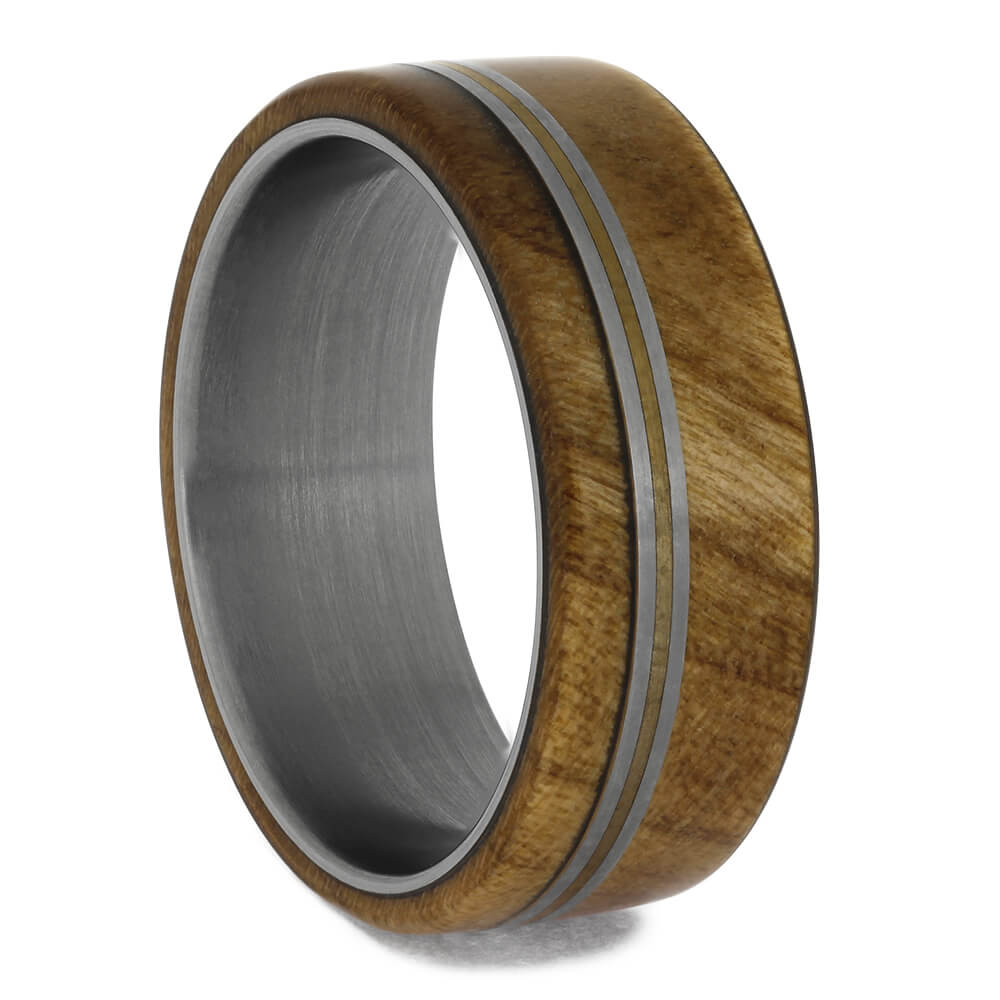 Cherry Wood Wedding Band with Offset Bronze Pinstripe, Size 7.5-RS11383 - Jewelry by Johan