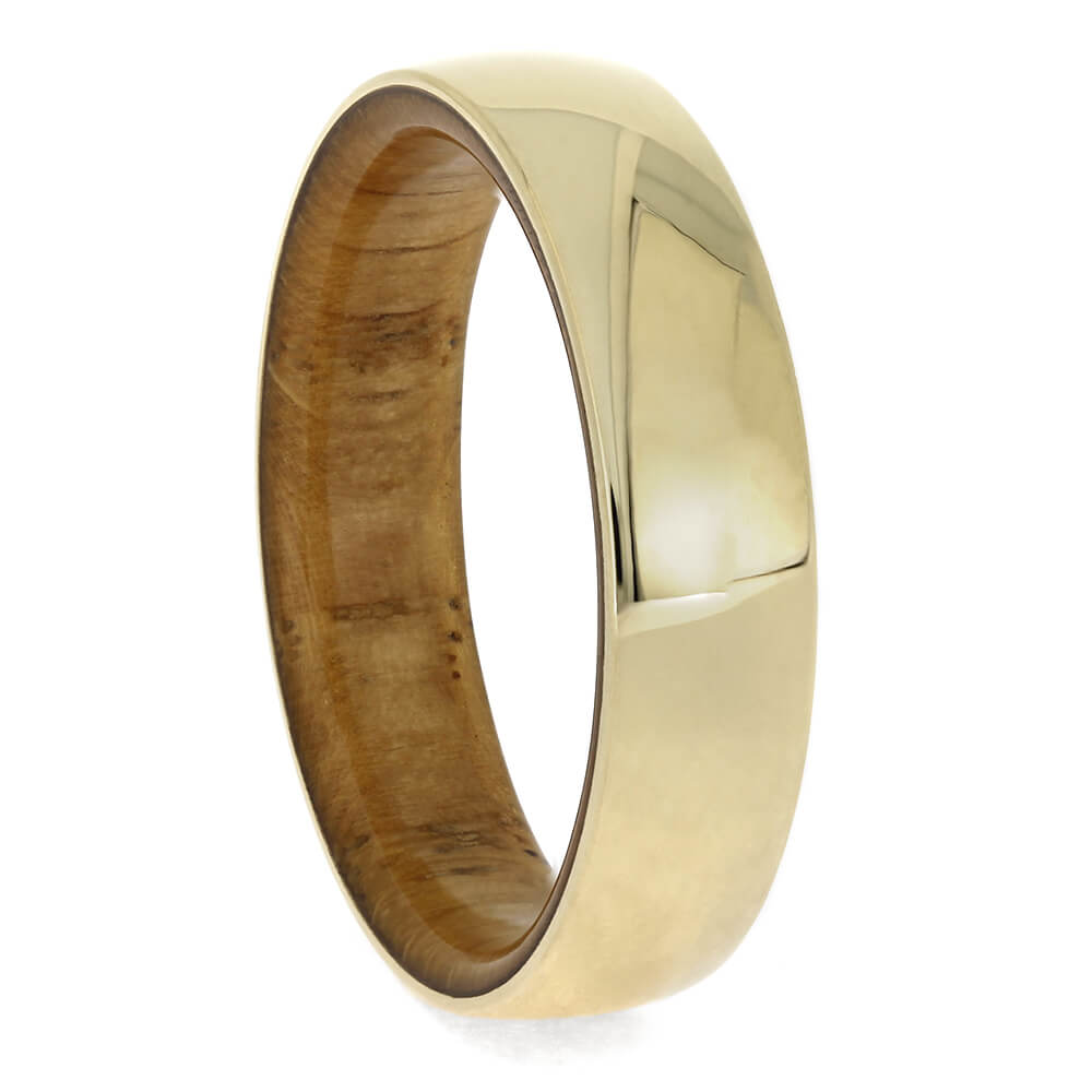 Oak Wood Wedding Band with Yellow Gold Overlay, Size 8-RS11384 - Jewelry by Johan