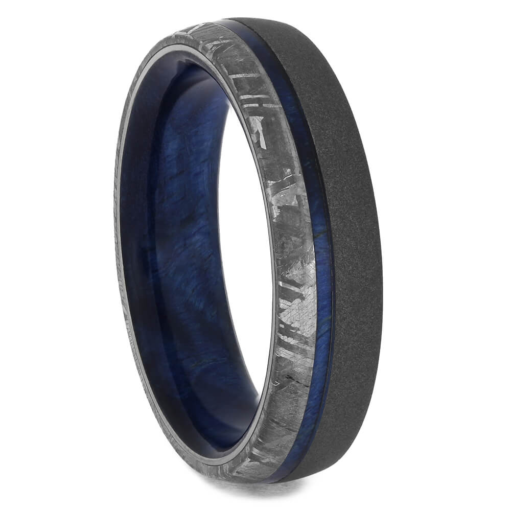 Blue Wood and Meteorite Wedding Band, Size 9.5-RS11386 - Jewelry by Johan