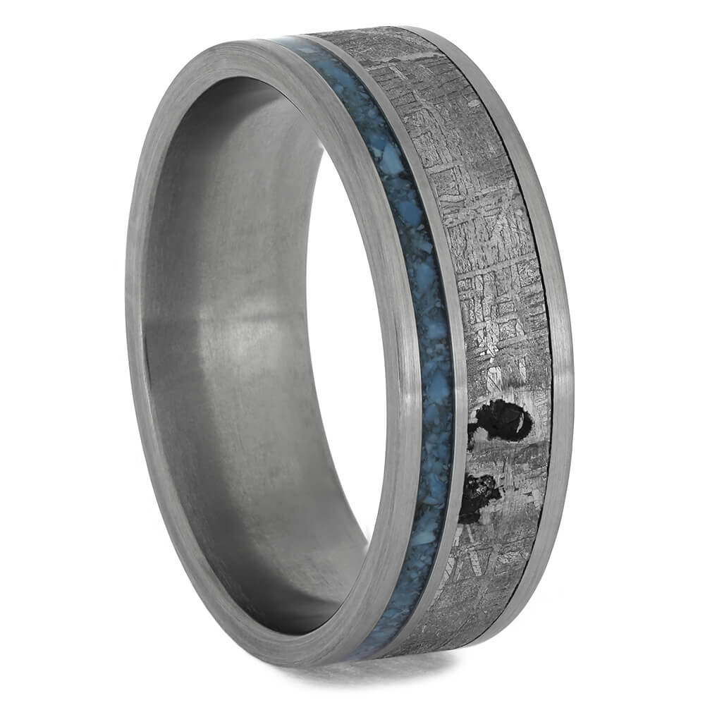 Meteorite Wedding Band with Crushed Turquoise Pinstripe, Size 13-RS11391 - Jewelry by Johan
