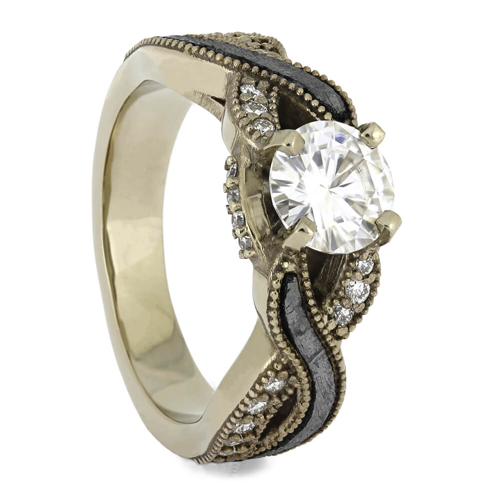 Meteorite Twist Engagement Ring with Diamond Accents, Size 4.5-RS11392 - Jewelry by Johan