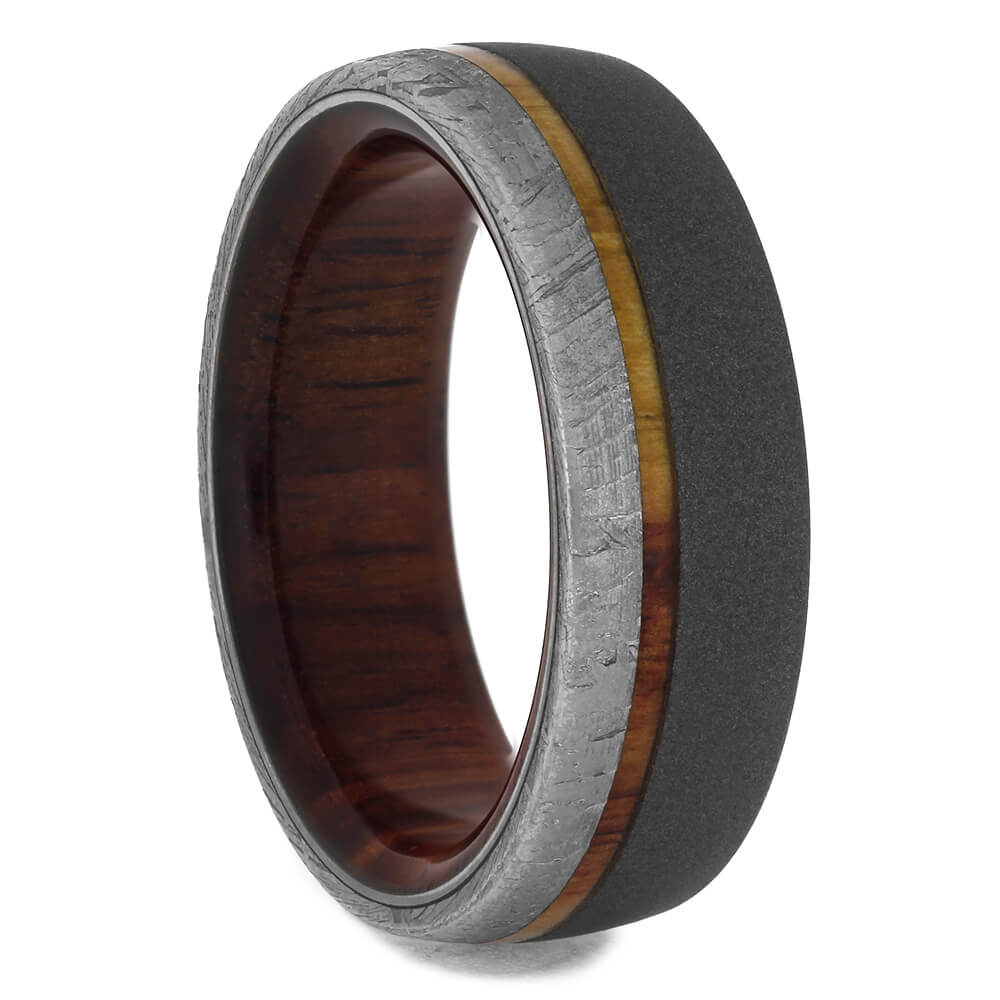 Tulipwood and Meteorite Men's Wedding Band, Size 7.5-RS11393 - Jewelry by Johan