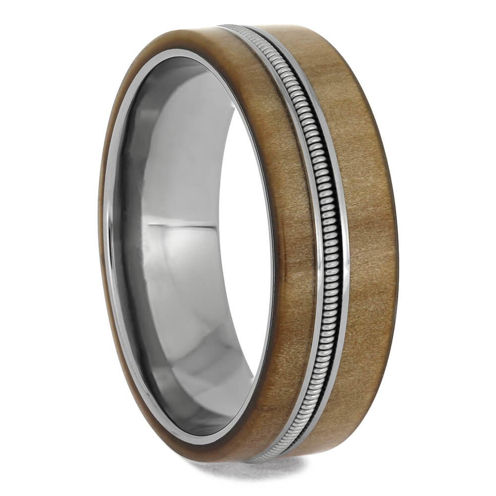 Guitar String Wedding Band with Rowan Wood, Size 13-RS11396 - Jewelry by Johan