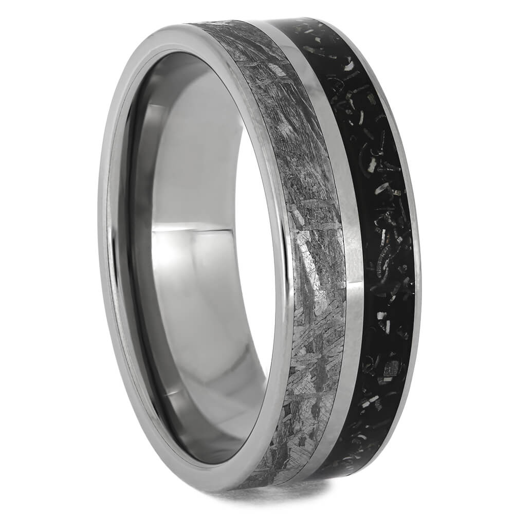 Meteorite Ring with Black Stardust™ Night Sky Design, Size 12-RS11405 - Jewelry by Johan