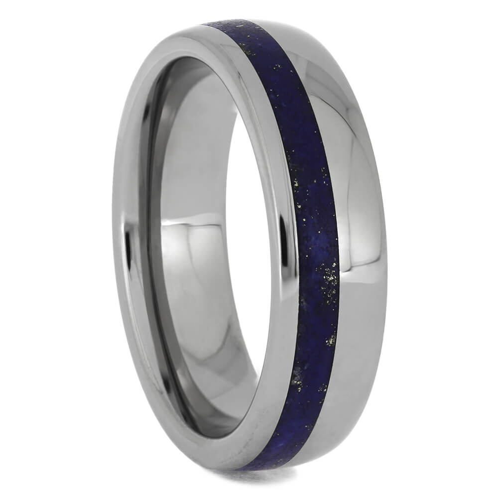 Men's Blue Wedding Band with Lapis Lazuli, Size 8.25-RS11406 - Jewelry by Johan