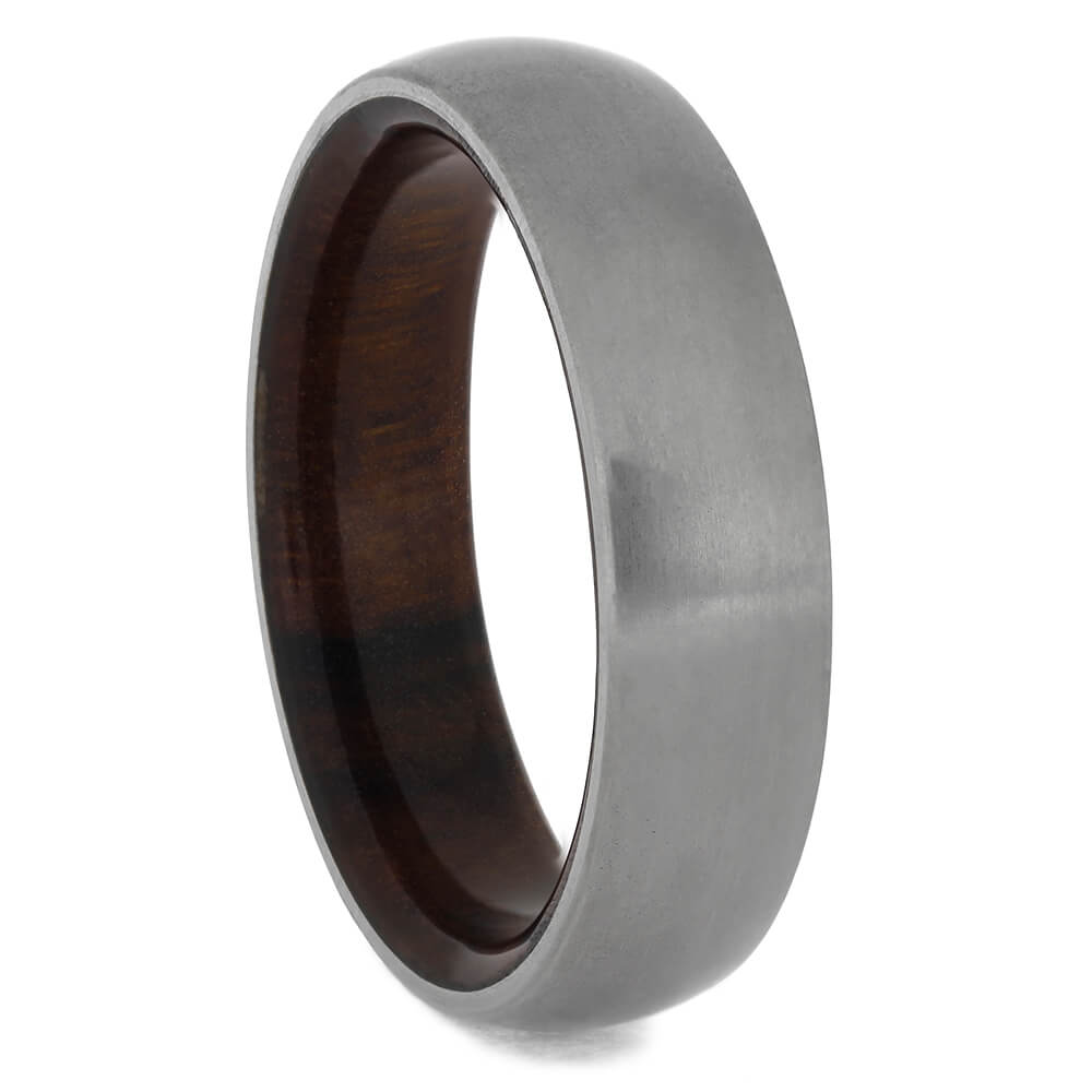 Matte Titanium Ring with Ironwood Inside, Size 10-RS11407 - Jewelry by Johan