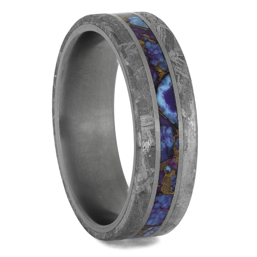 Meteorite Wedding Band with Lava Mosaic Turquoise, Size 10.5-RS11408 - Jewelry by Johan