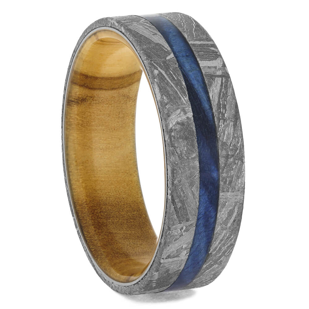 Plus Size Meteorite Wedding Band with Wood, Size 13-RS11410 - Jewelry by Johan