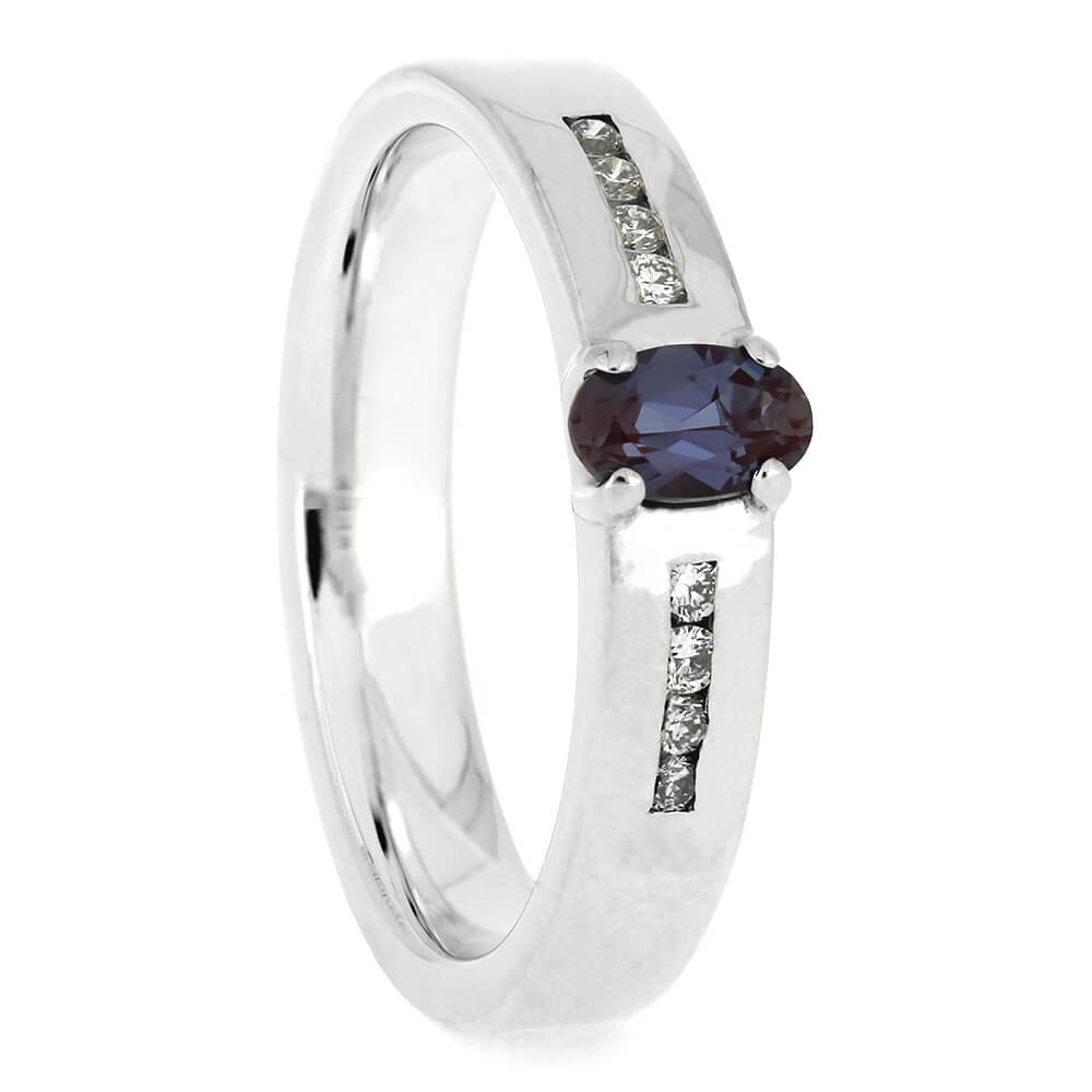 Silver Alexandrite Engagement Ring with Diamonds, Size 5.5-RS11412 - Jewelry by Johan