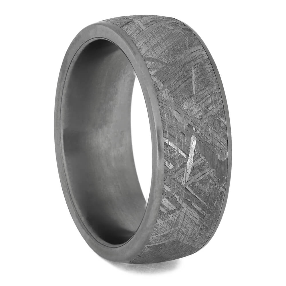 Meteorite Wedding Band with Matte Titanium Edges, Size 6.5-RS11414 - Jewelry by Johan