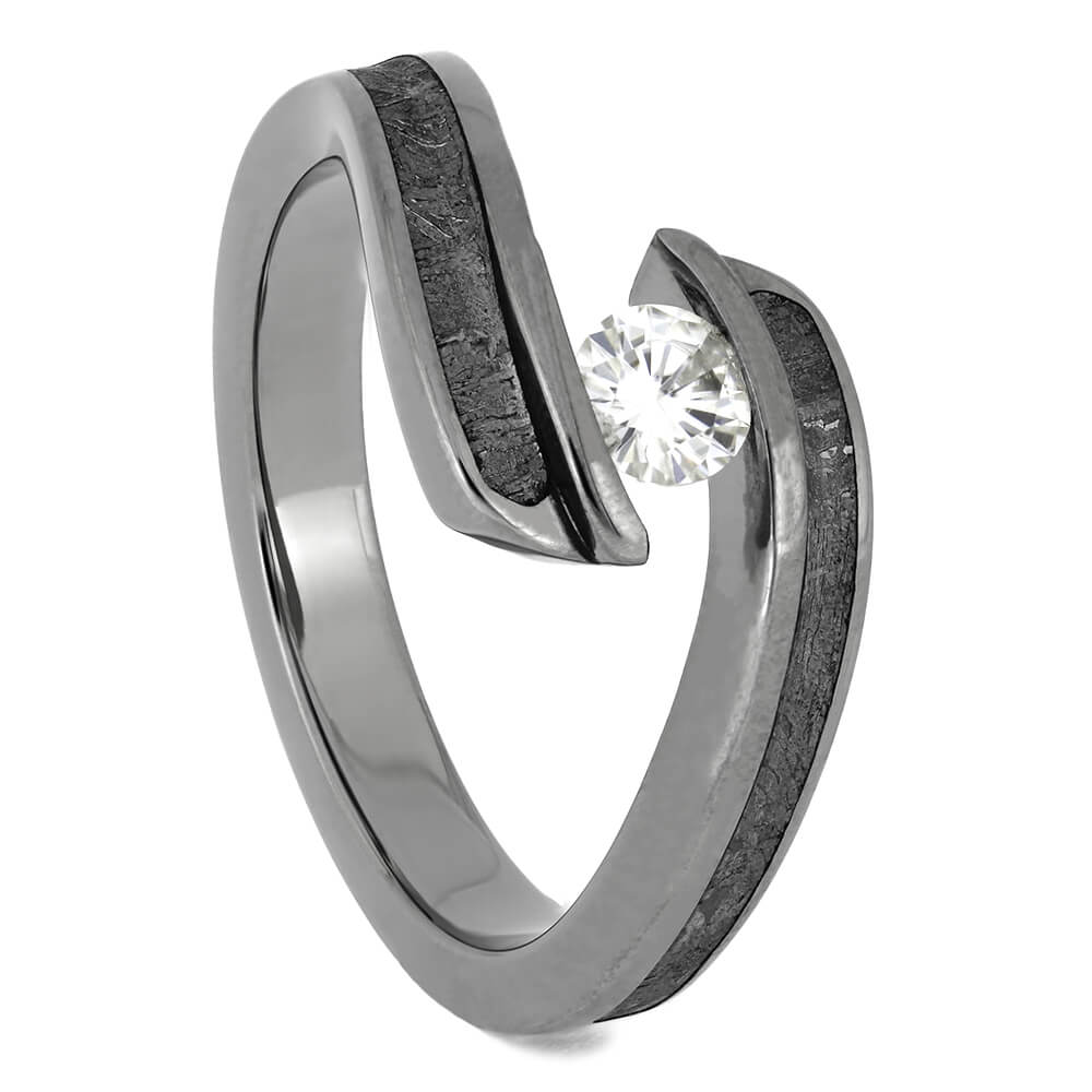 Tension Set Moissanite Engagement Ring with Genuine Meteorite, Size 7-RS11416 - Jewelry by Johan