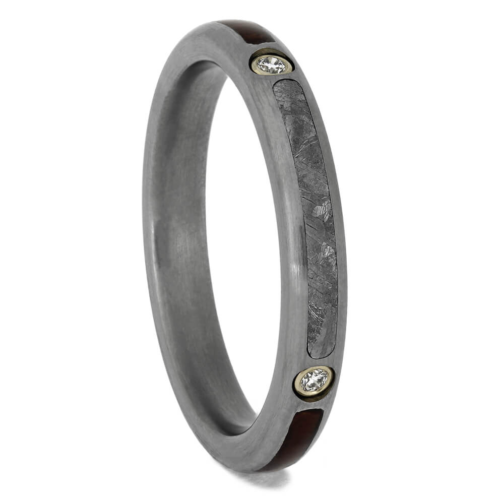 Women's Wedding Band with Meteorite and Diamonds, Size 7.5-RS11417 - Jewelry by Johan