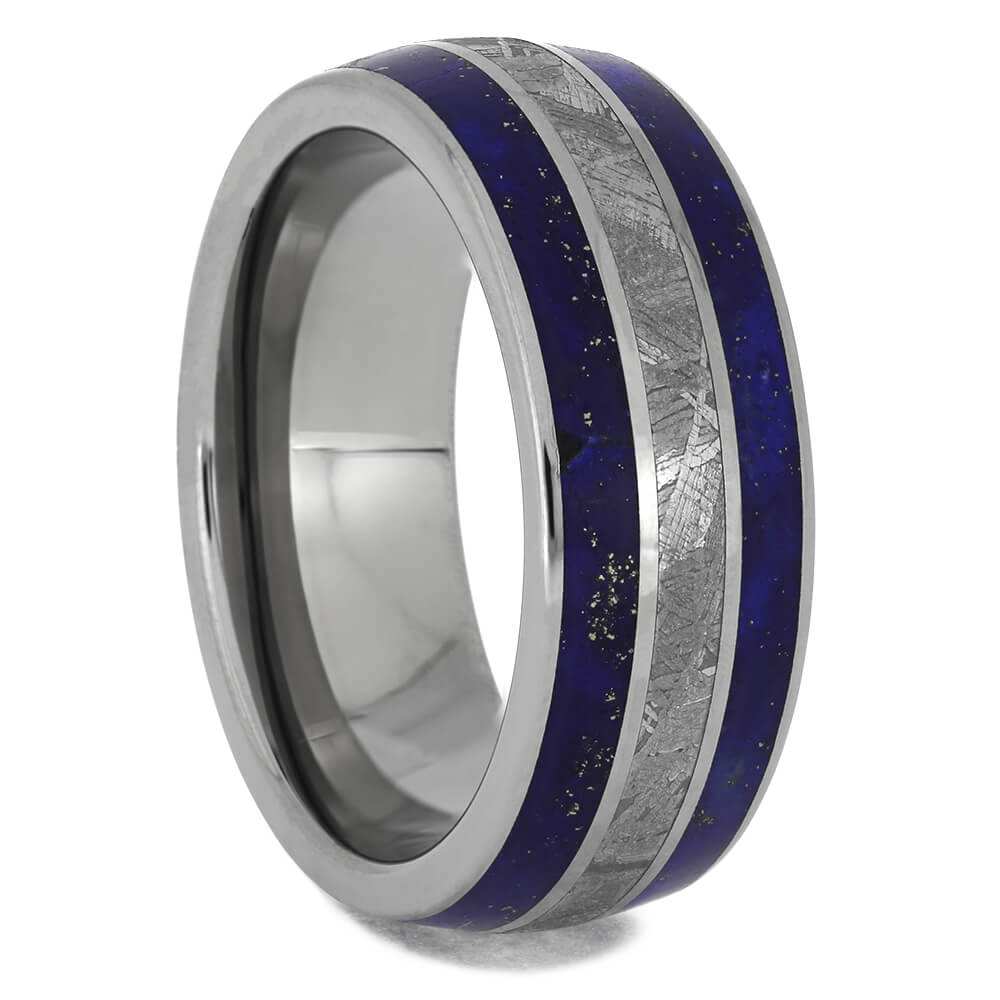 Meteorite & Lapis Lazuli Wedding Band, Size 8.5-RS11420 - Jewelry by Johan