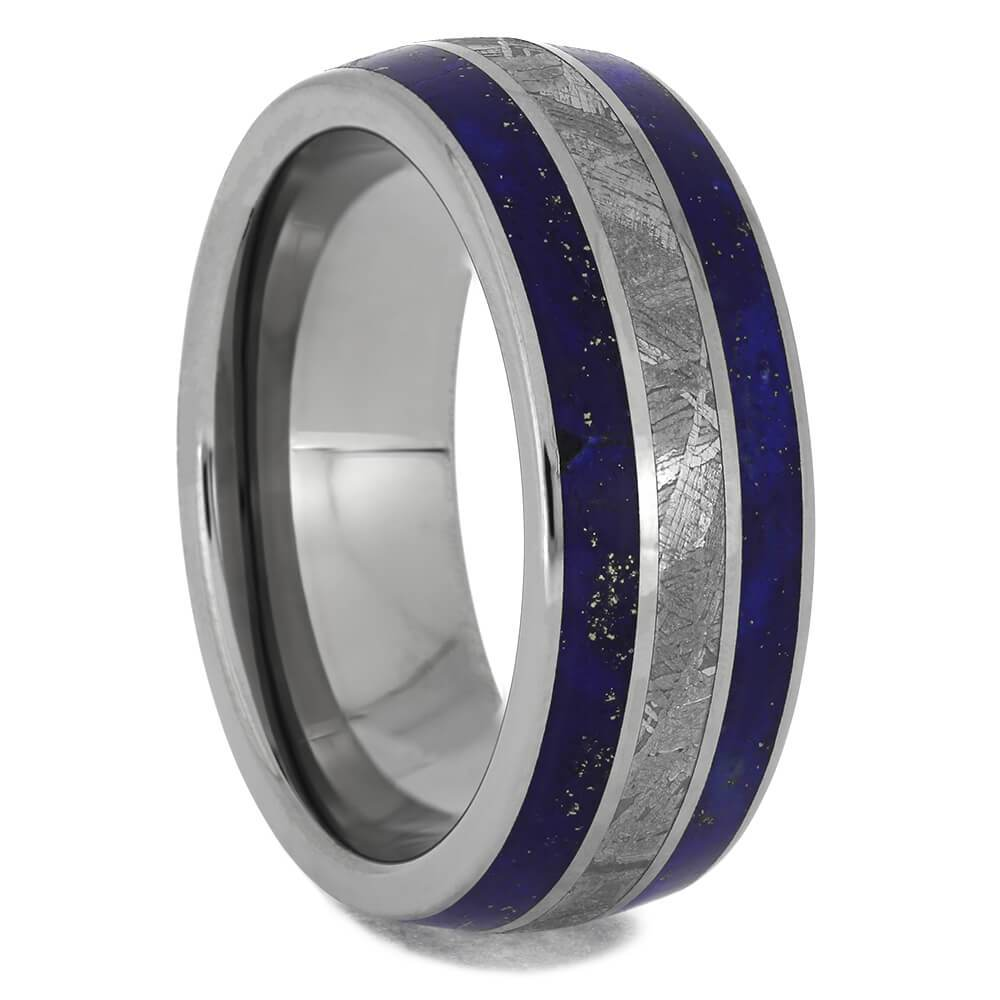 Blue Lapis Lazuli Ring With Meteorite Inlays, Titanium Men's Wedding Band-4239 - Jewelry by Johan