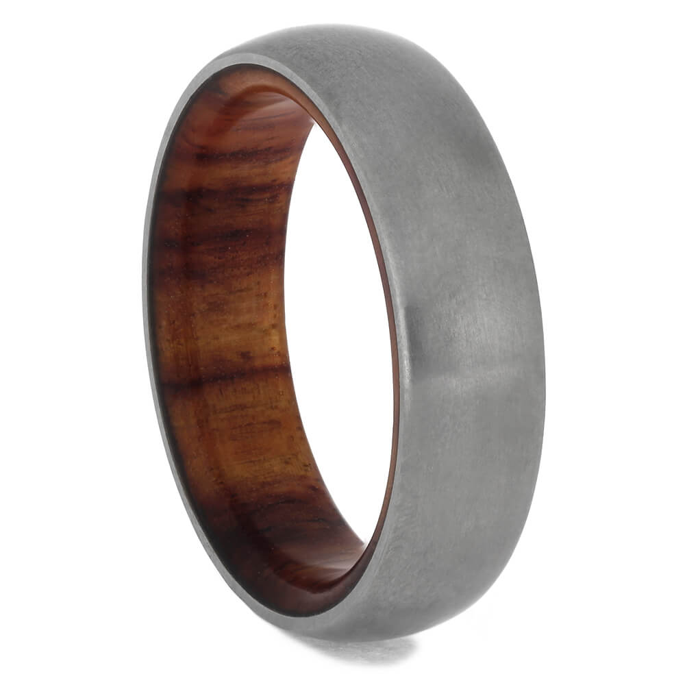 Matte Titanium Men's Wedding Band with Wood Sleeve, Size 8.75-RS11422 - Jewelry by Johan