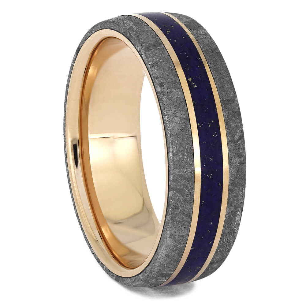 Rose Gold Wedding Band with Meteorite & Lapis Lazuli, Size 9-RS11425 - Jewelry by Johan